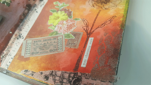 Raquel's art journal using Baked Texture & Prima's washi tapes.