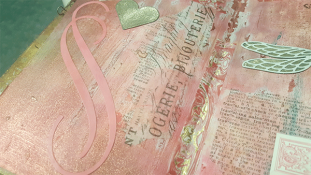 Raquel's art journal using Glitter Kiss.