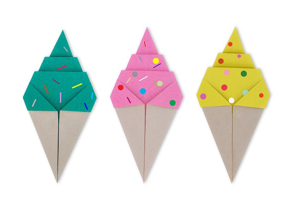 Colorful paper ice cream cones